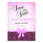Jaguar Animal Cat Pattern| Pink | Baby Girl Shower Magnetic Card