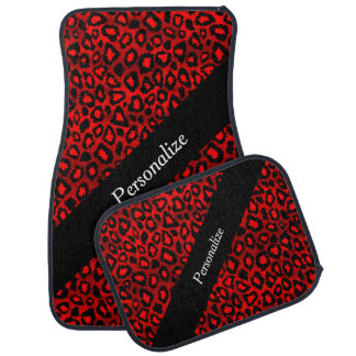 Jaguar Animal Print | Red | Personalize Car Liners