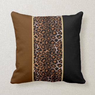 Jaguar Animal Print | Rich Deep Brown Throw Pillow