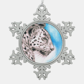 Jaguar Art Snowflake Pewter Christmas Ornament