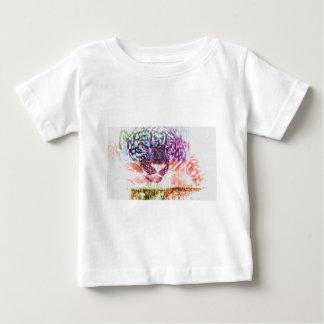 Jaguar cat rainbow art print baby T-Shirt
