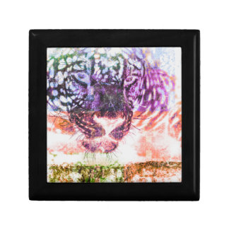Jaguar cat rainbow art print gift box