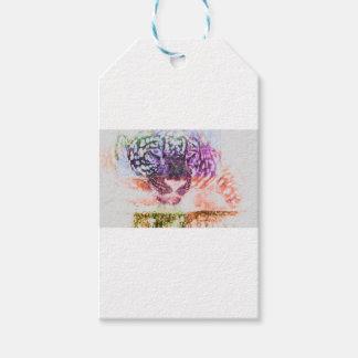 Jaguar cat rainbow art print gift tags