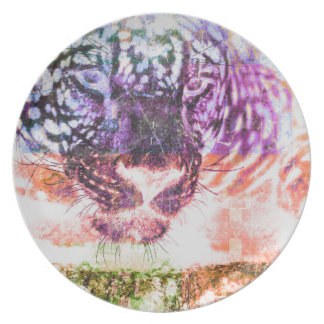 Jaguar cat rainbow art print plate