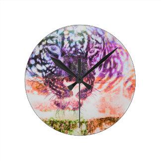Jaguar cat rainbow art print round clock