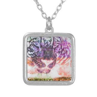 Jaguar cat rainbow art print silver plated necklace