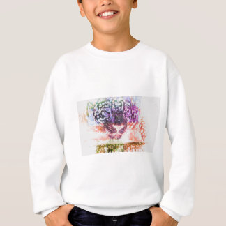 Jaguar cat rainbow art print sweatshirt