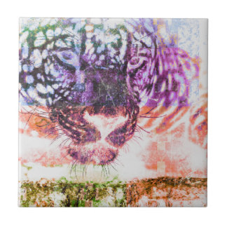 Jaguar cat rainbow art print tile