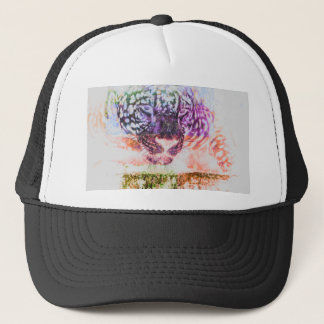 Jaguar cat rainbow art print trucker hat