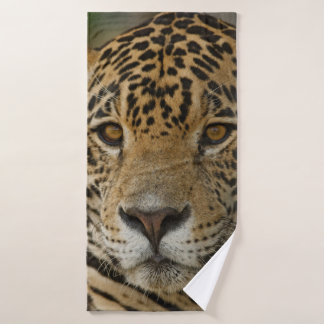 Jaguar feline portrait bath towel
