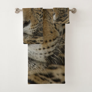 Jaguar feline portrait bath towel set