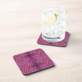 Jaguar Fur in Pink and Purple Coasters