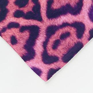 Jaguar Fur in Pink and Purple Fleece Blanket