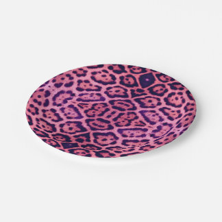 Jaguar Fur in Pink and Purple Paper Plate