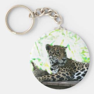 Jaguar looking over shoulder dappled green keychain