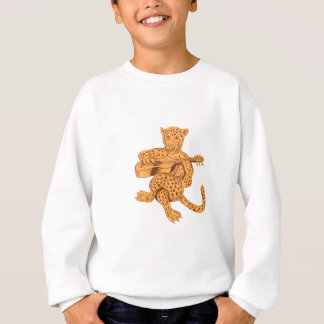 Jaguar Playing Guitar Drawing Sweatshirt