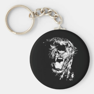 Jaguar Roaring Basic Round Button Keychain