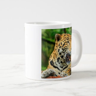 Jaguar shows its teeth, Belize Giant Coffee Mug
