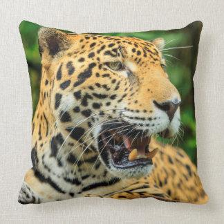 Jaguar shows its teeth, Belize Throw Pillow