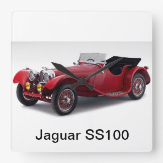 Jaguar SS100 Square Wall Clock