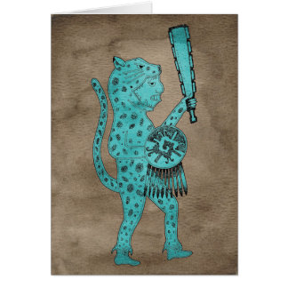Jaguar Warrior Card (blue on brown)