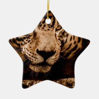 jaguar water stalking eyes ceramic ornament