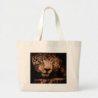 jaguar water stalking eyes large tote bag