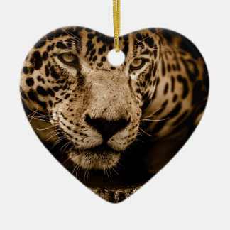 Jaguar Water Stalking Eyes Menacing Fearsome Male Ceramic Ornament