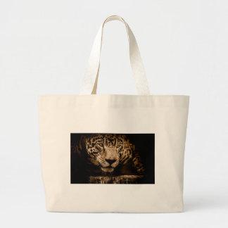 Jaguar Water Stalking Eyes Menacing Fearsome Male Large Tote Bag