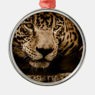 Jaguar Water Stalking Eyes Menacing Fearsome Male Metal Ornament