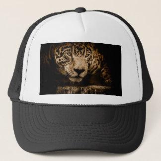 Jaguar Water Stalking Eyes Menacing Fearsome Male Trucker Hat