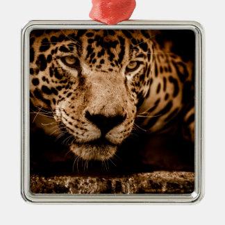 jaguar water stalking eyes metal ornament