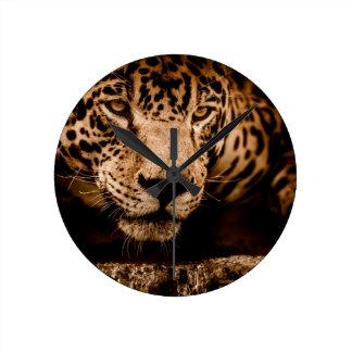jaguar water stalking eyes round clock