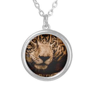 jaguar water stalking eyes silver plated necklace