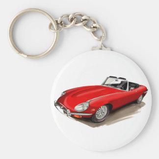 Jaguar XKE Red Car Keychain