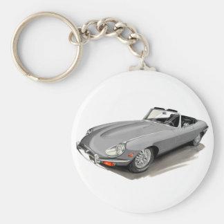 Jaguar XKE Silver Car Basic Round Button Keychain