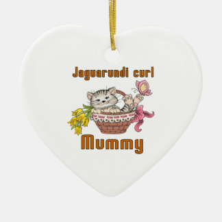 Jaguarundi curl Cat Mom Ceramic Heart Ornament