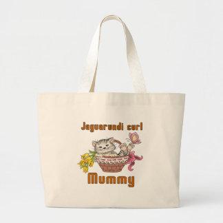 Jaguarundi curl Cat Mom Large Tote Bag