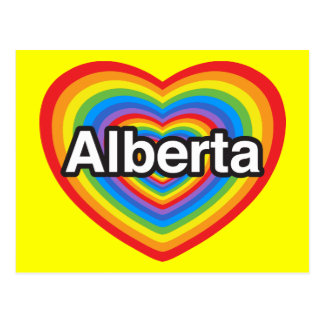 J'aime Alberta. Je t'aime Alberta. Coeur Carte Postale