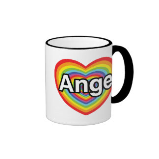 J'aime Ange, coeur d'arc-en-ciel Tasse