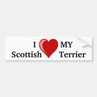 J'aime (coeur) mes cadeaux écossais de chien de Te Autocollant De Voiture