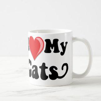J'aime (coeur) mes chats mug blanc