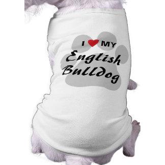 J'aime (coeur) mon bouledogue anglais Pawprint Manteau Pour Toutous