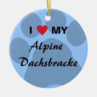 J'aime (coeur) mon Dachsbracke alpin Ornement Rond En Céramique