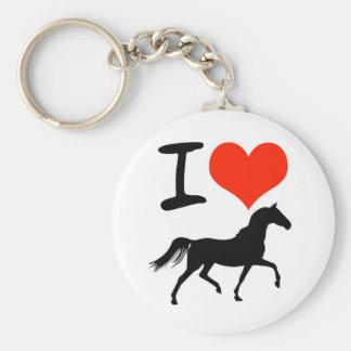 J'aime des chevaux porte-clé rond