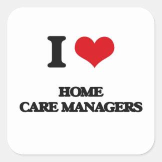 J'aime des directeurs de soin à domicile sticker carré