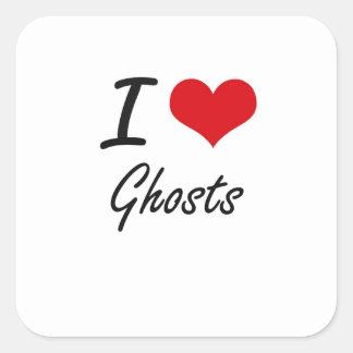 J'aime des fantômes sticker carré