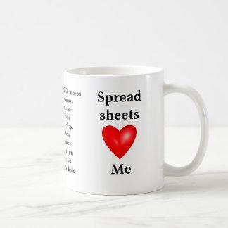J'aime des feuilles de calcul - la feuille de calc mug
