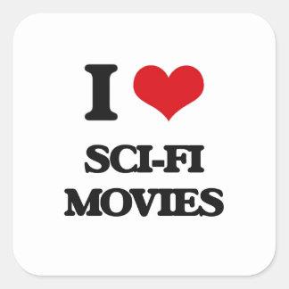 J'aime des films de la science fiction sticker carré