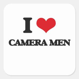 J'aime des hommes d'appareil-photo autocollant carré